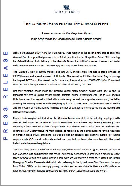 Grimaldi Lines - Grande Texas - Press Release